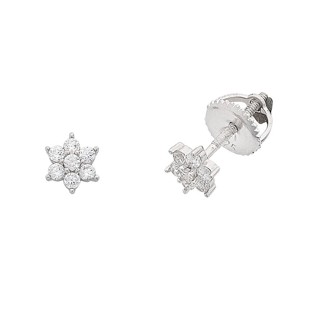 Children's Cubic Zirconia Flower Screw Back Earrings in Sterling Silver Earrings Bevilles