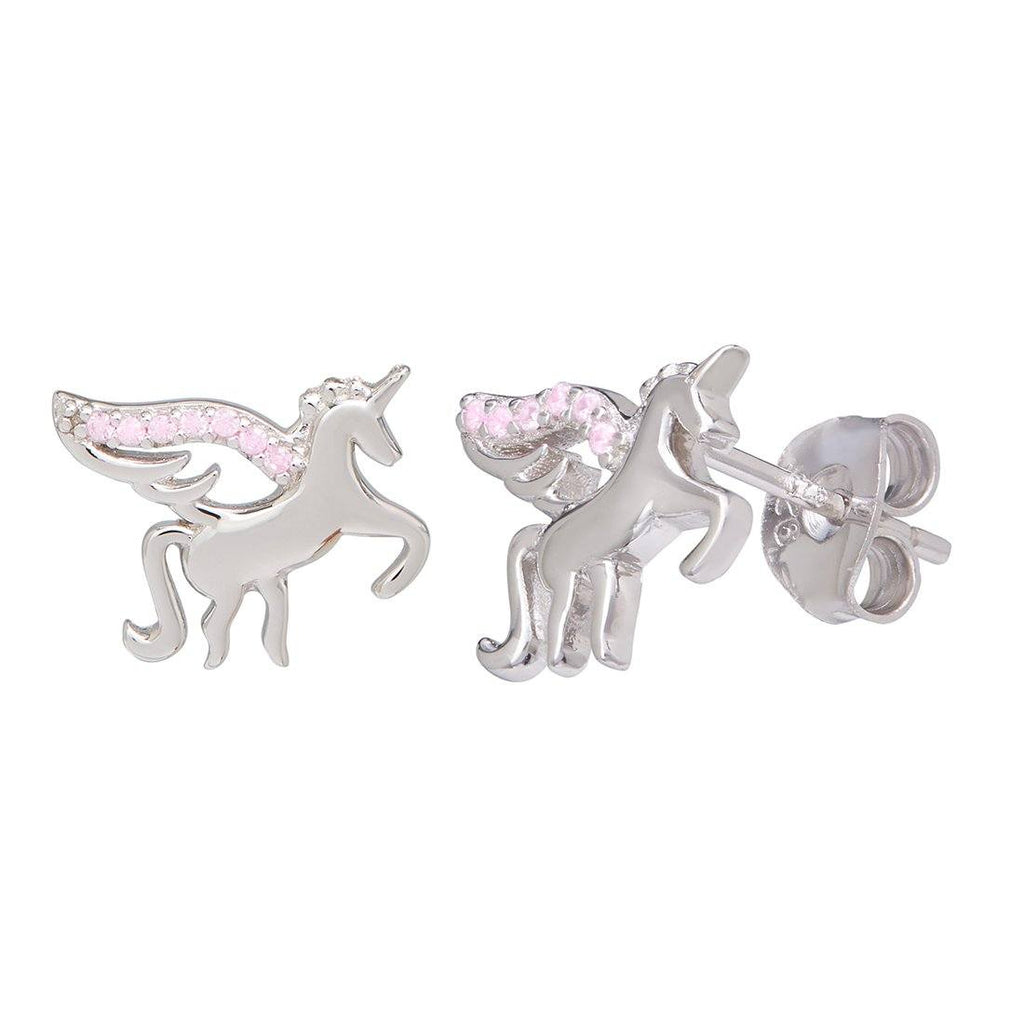 Children's Pink Cubic Zirconia Unicorn Earrings in Sterling Silver Earrings Bevilles