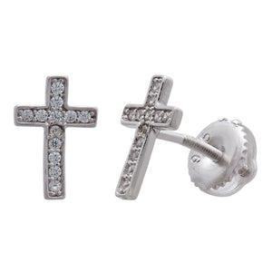 Children's Cross Earrings in Sterling Silver