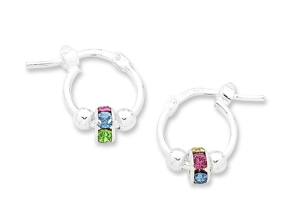 Children's Sterling Silver Multicolour Lucky Ring Hoop Earrings