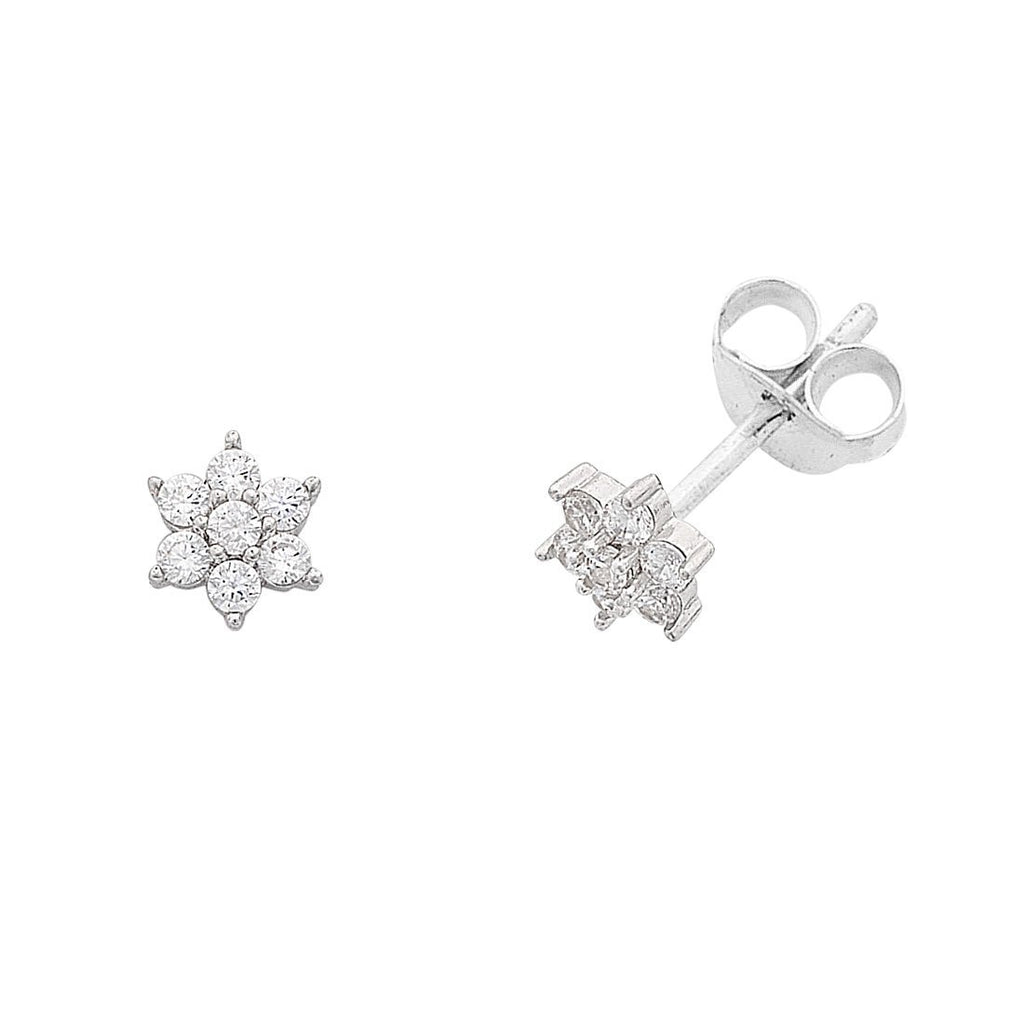 Children's Cubic Zirconia Flower Stud Earrings in Sterling Silver Earrings Bevilles