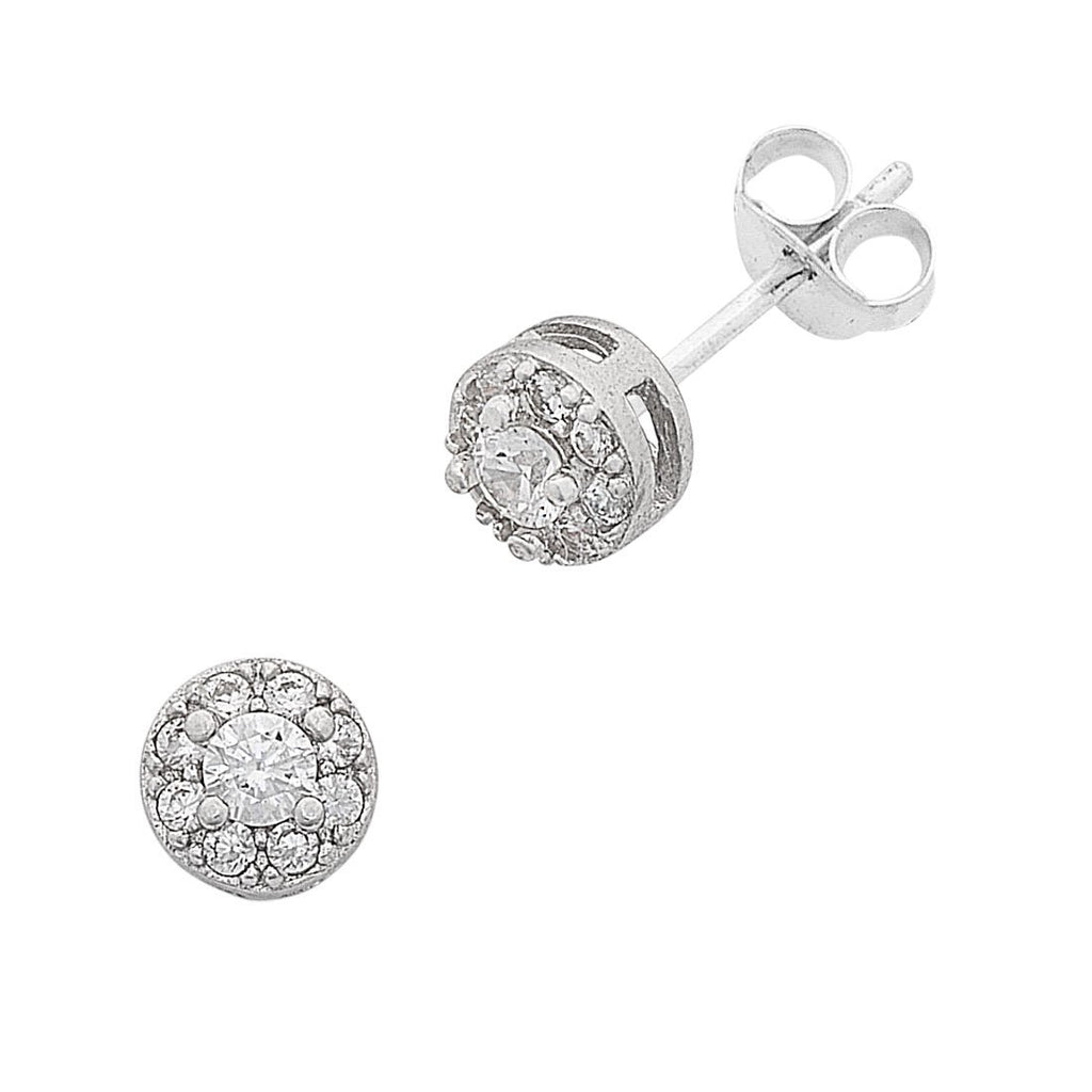 Children's Cubic Zirconia Cluster Stud Earrings in Sterling Silver Earrings Bevilles