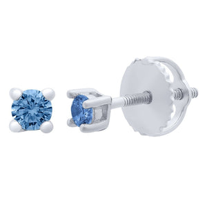Children's Blue Cubic Zirconia Stud Earrings