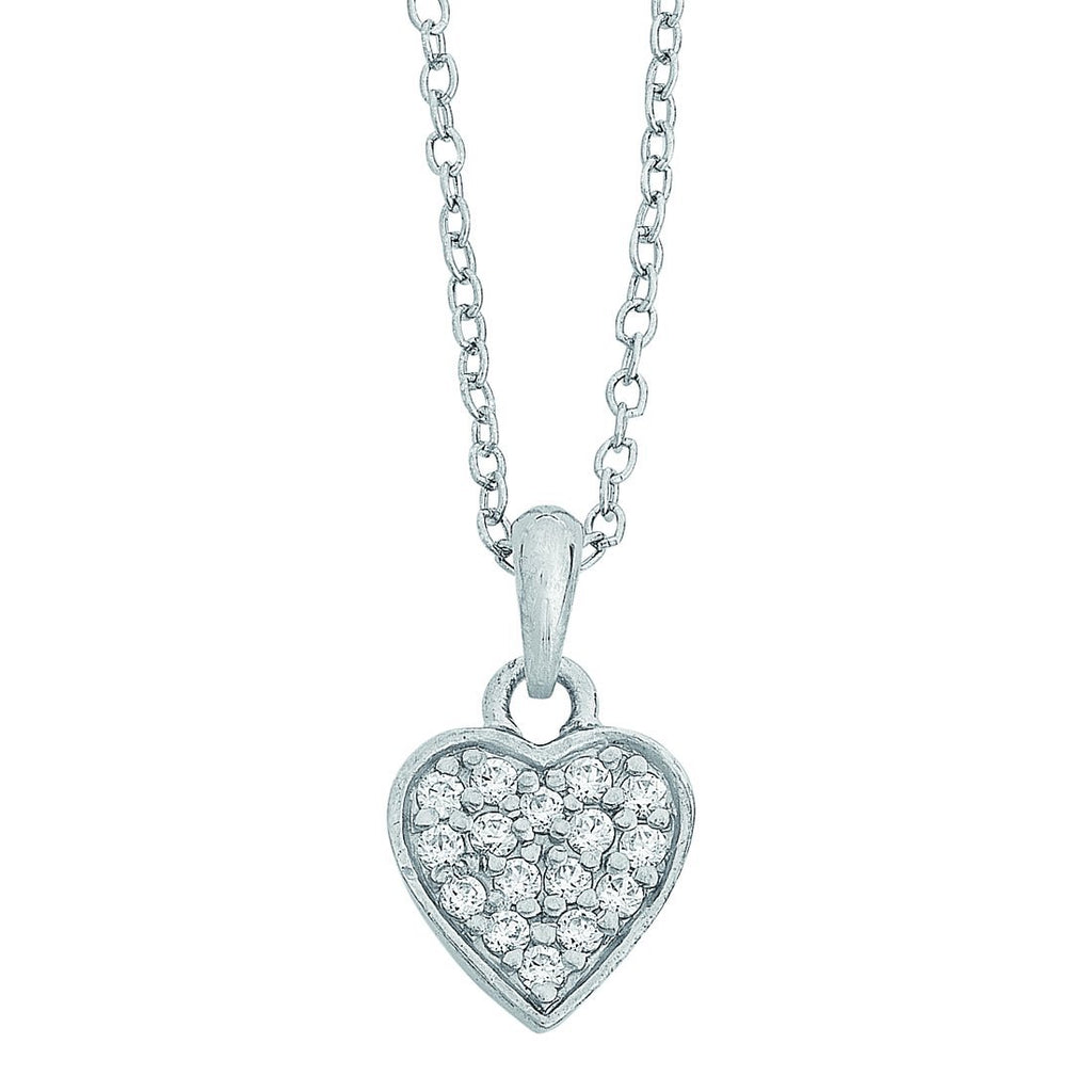 Children's Sterling Silver Cubic Zirconia Pave Heart Necklace
