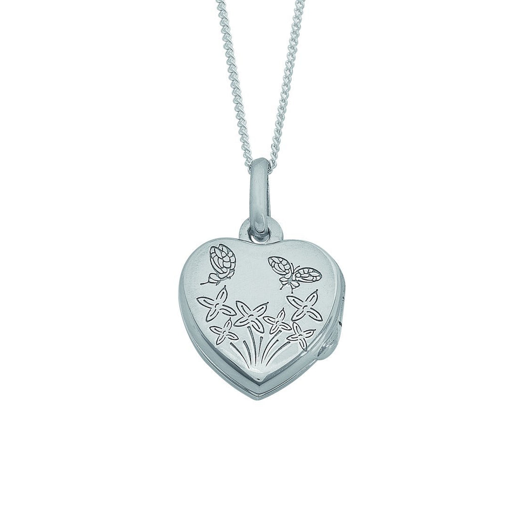 Children's Sterling Silver Plain Flower and Butterfly Engraved Heart Locket Necklace