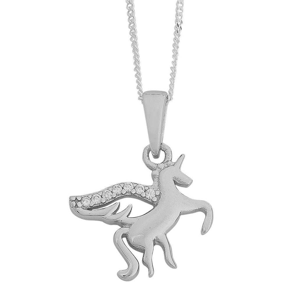 Children's Sterling Silver Cubic Zirconia Unicorn Necklace Necklaces Bevilles