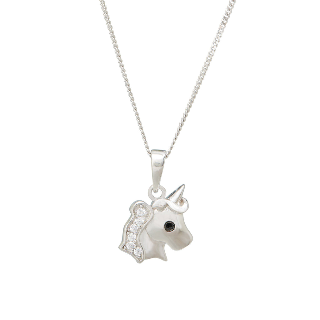 Children's Unicorn Black Cubic Zirconia Necklace in Sterling Silver Necklaces Bevilles