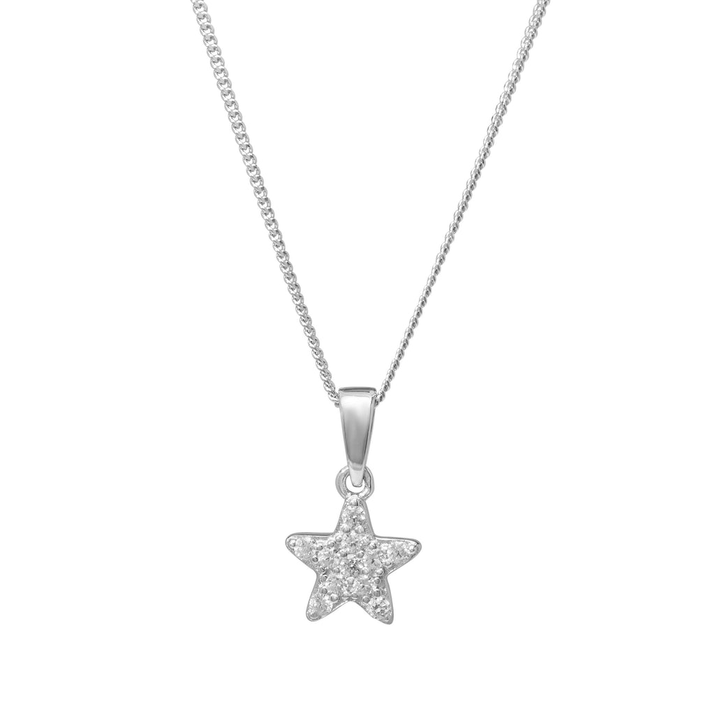 Children's Star Cubic Zirconia Necklace in Sterling Silver Necklaces Bevilles