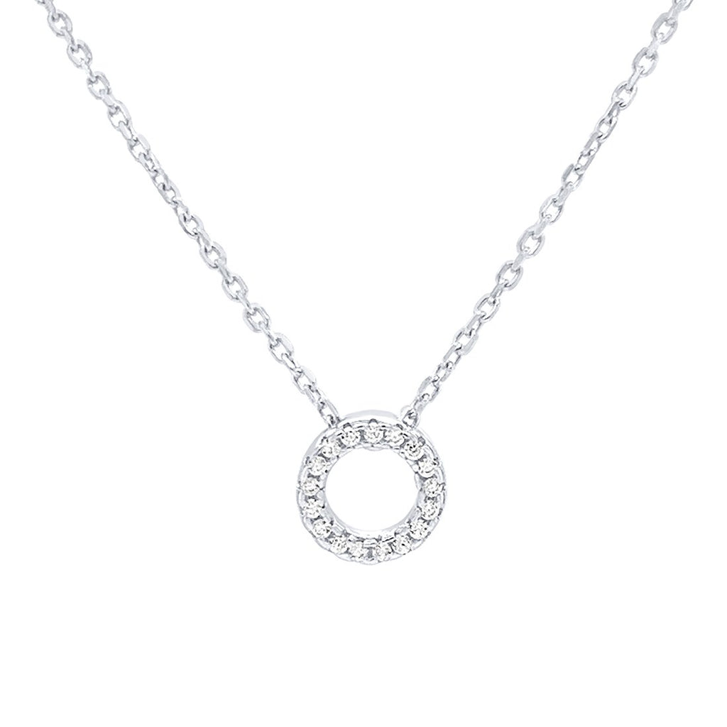 Open Circle 42cm Necklace with Cubic Zirconia in Sterling Silver Necklaces Bevilles