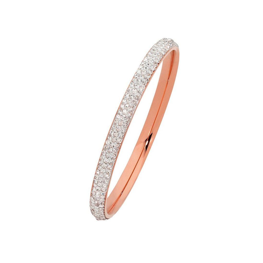 Children's Rose Stainless Steel Crystal Bangle Bracelets Bevilles
