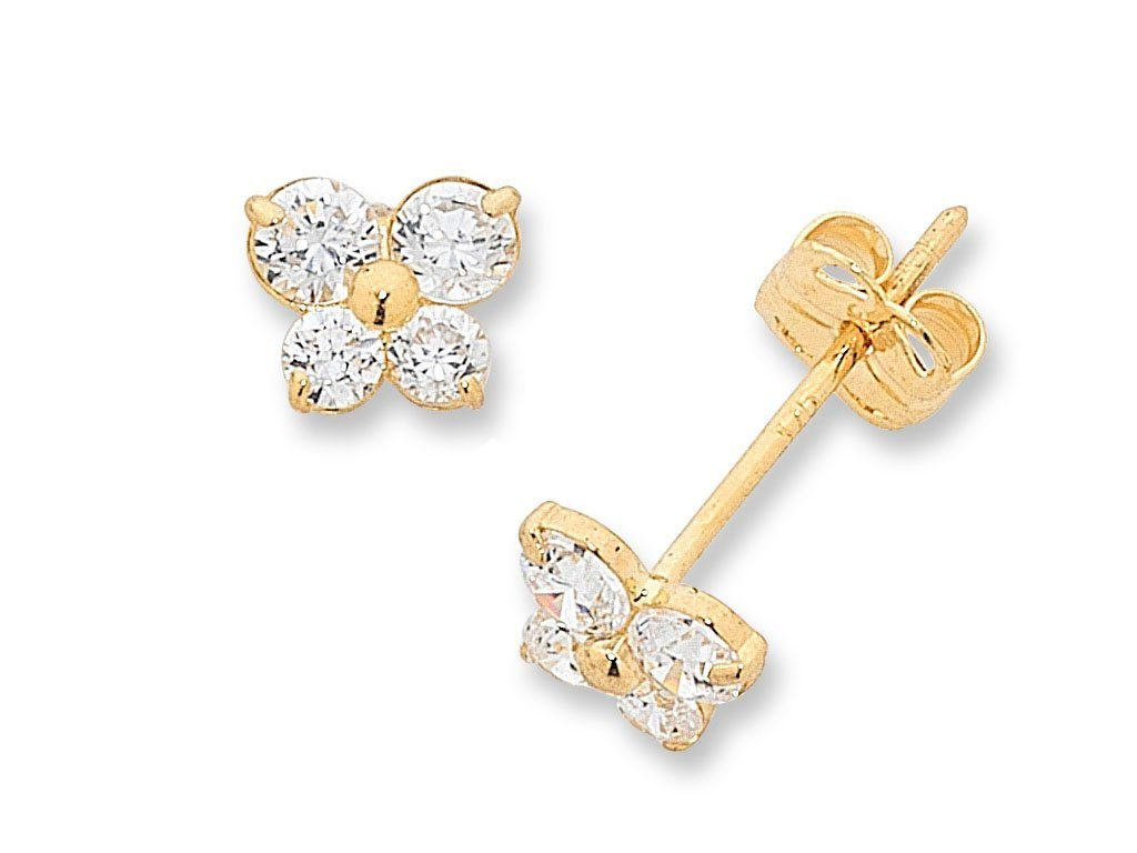 Children's 9ct Yellow Gold Cubic Zirconia Butterfly Stud Earrings Earrings Bevilles