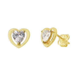 Children's 9ct Yellow Gold Heart Shape Cubic Zirconia Stud Earrings