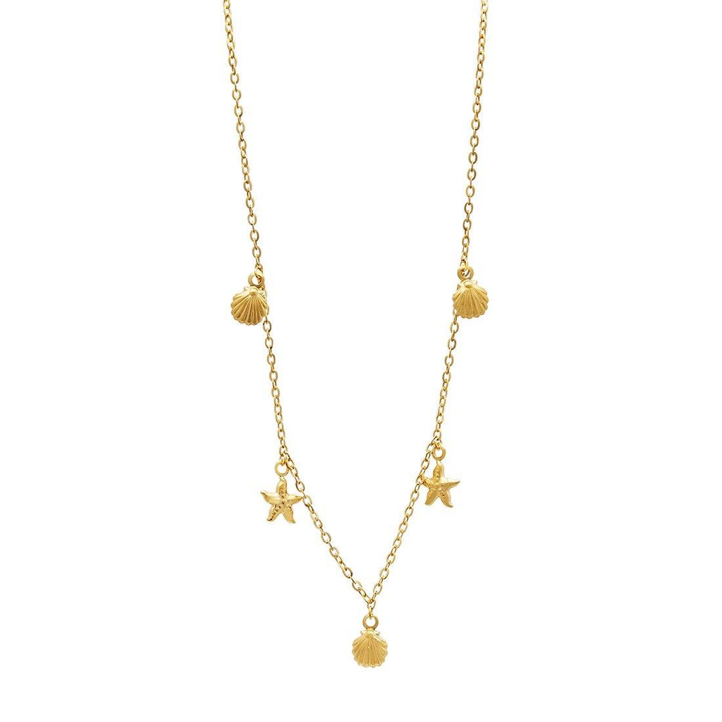 Children's Starfish & Shells Necklace in 9ct Yellow Gold Silver Infused Necklaces Bevilles