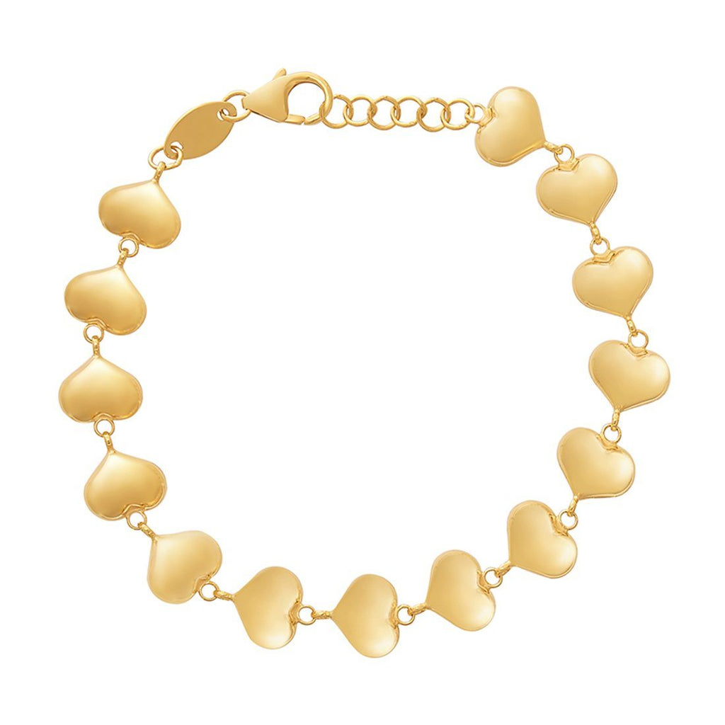 Children's Puff Heart Bracelet in 9ct Yellow Gold Silver Infused Bracelets Bevilles