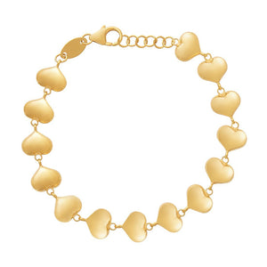 Children's Puff Heart Bracelet in 9ct Yellow Gold Silver Infused
