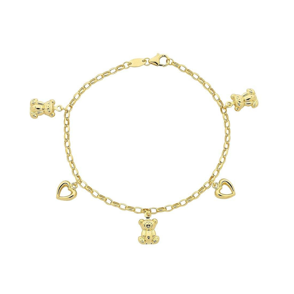Children's 9ct Yellow Gold Silver Infused Open Heart Charm Bracelet