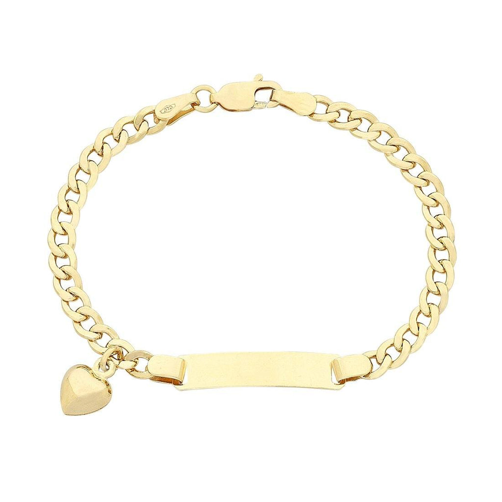 Children's 9ct Yellow Gold Silver Infused Heart Charm Bracelet