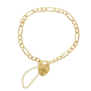 Children's 9ct Yellow Gold Silver Infused Padlock Bracelet