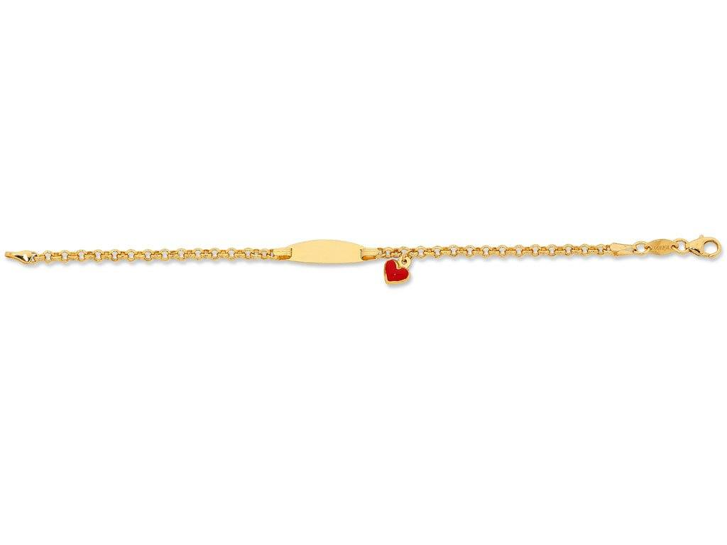 Children's 9ct Yellow Gold Silver Infused Heart ID Bracelet