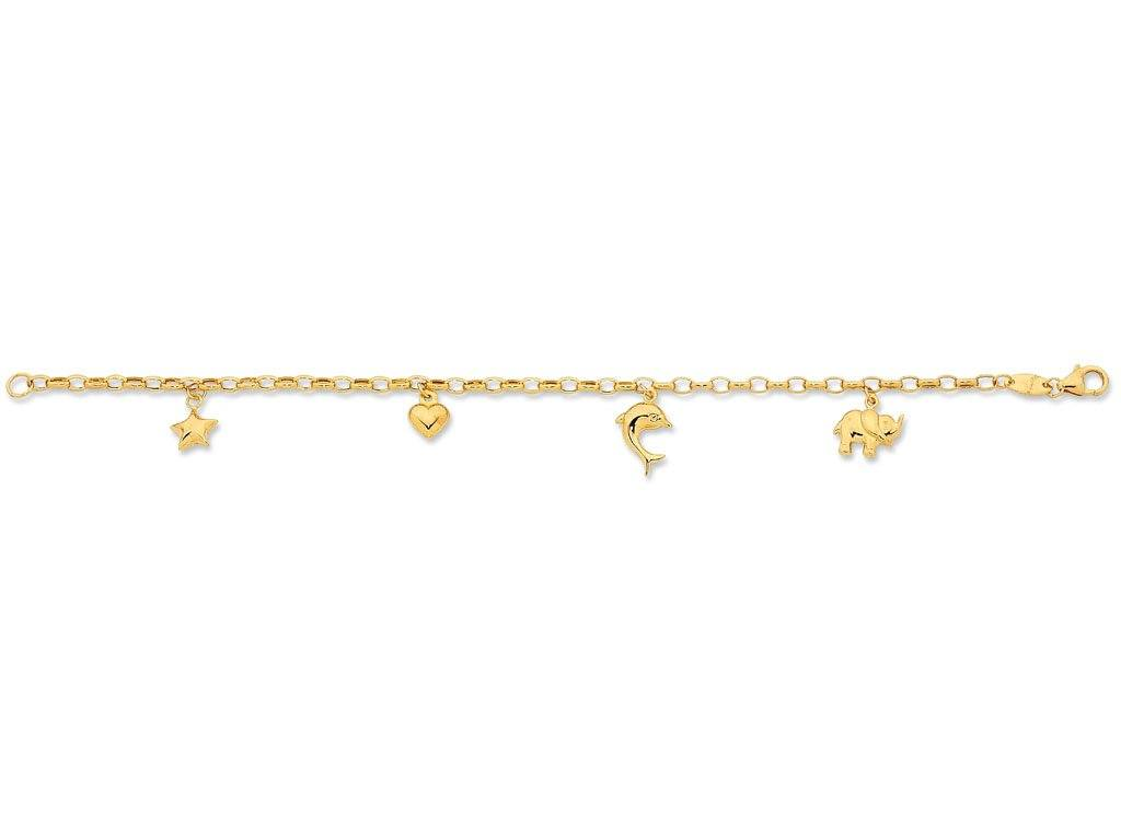 Children's 9ct Yellow Gold Silver Infused Charm Bracelet Bracelets Bevilles