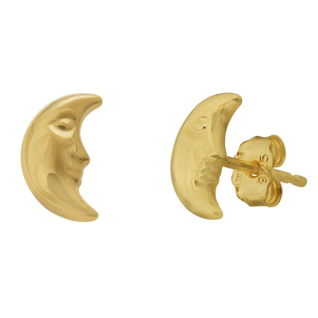 9ct Yellow Gold Silver Infused Moon Earrings Earrings Bevilles