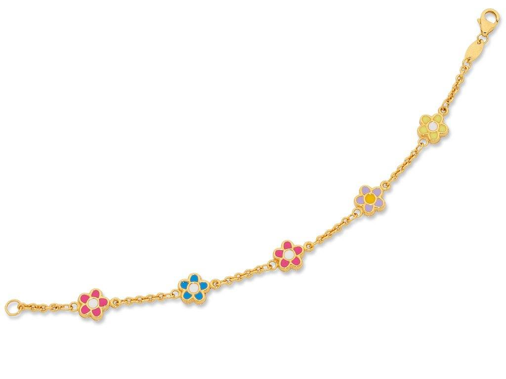 Children's 9ct Yellow Gold Silver Infused Flower Bracelet