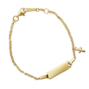 Children's Cross ID Bracelet in 9ct Yellow Gold Silver Infused
