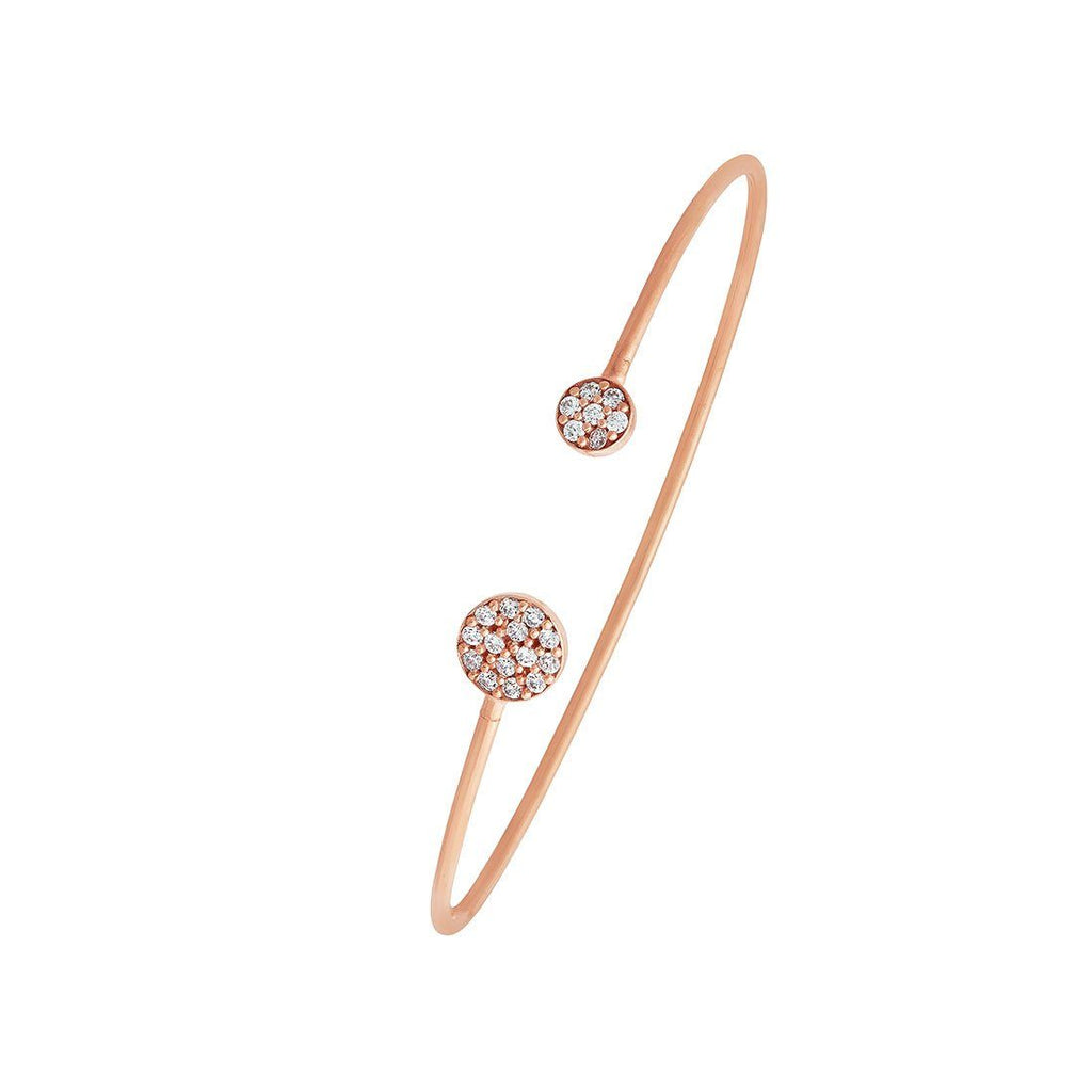 Children's Cubic Zirconia Cuff Bangle in 9ct Rose Gold Silver Infused Bracelets Bevilles
