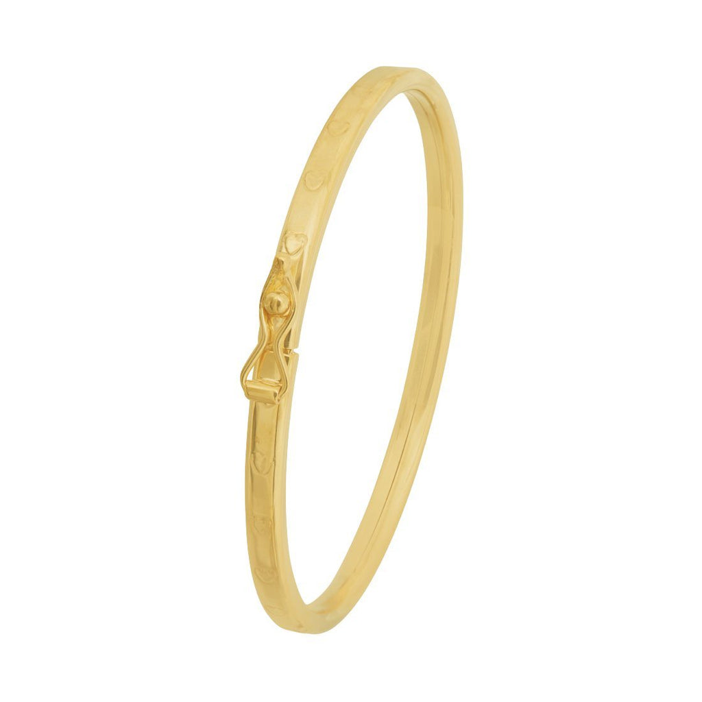 Children's 9ct Yellow Gold Silver Infused Bangle with Hearts Bracelets Bevilles