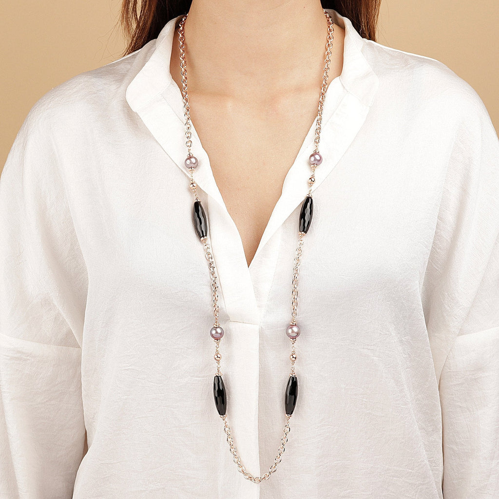 Bronzallure Black Onyx and Rose Ming Pearl Chanel Necklace Necklace Bronzallure