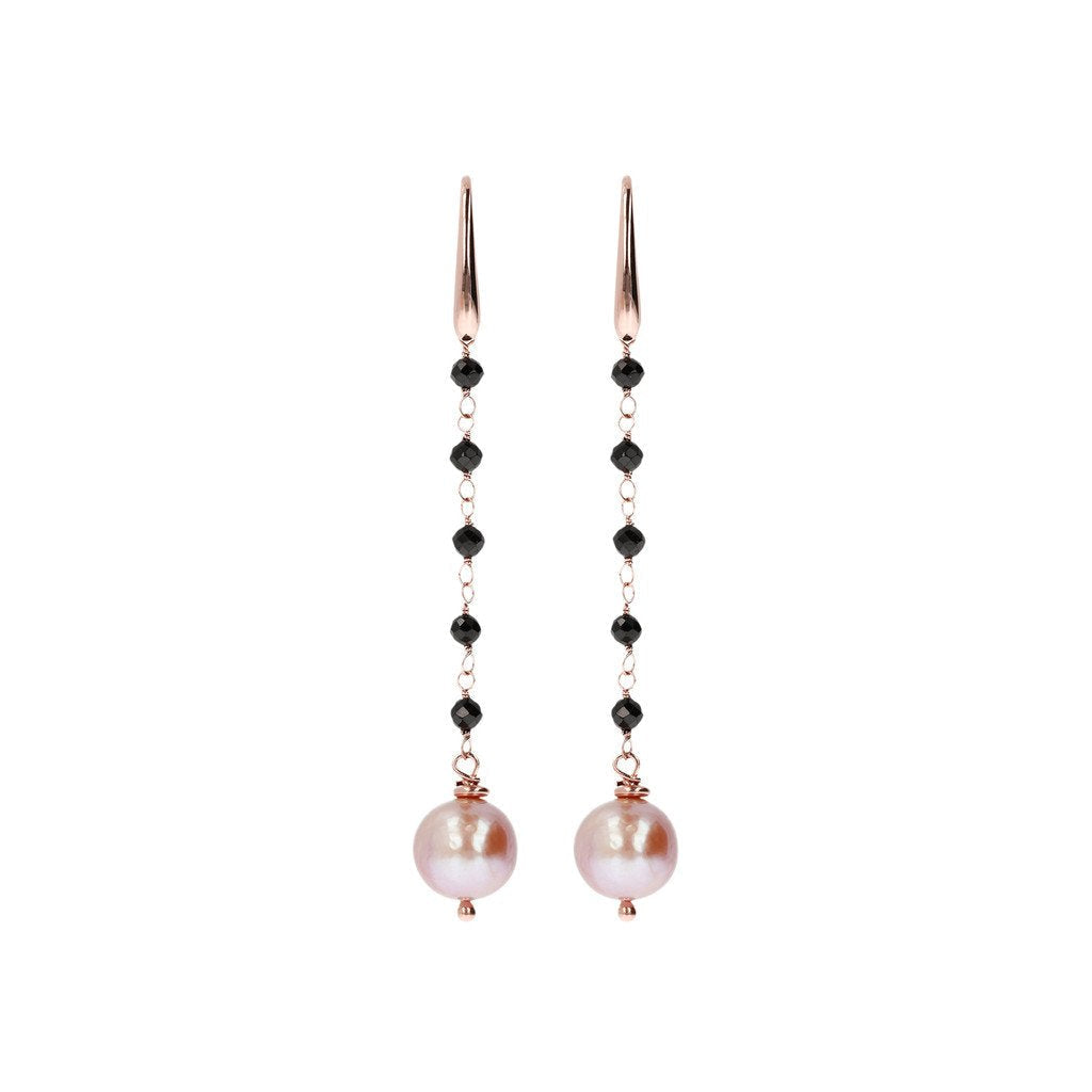 Bronzallure Black Spinel And Rose Pearl Dangle Earrings Earrings Bronzallure 6.4 cm Rose Pearl