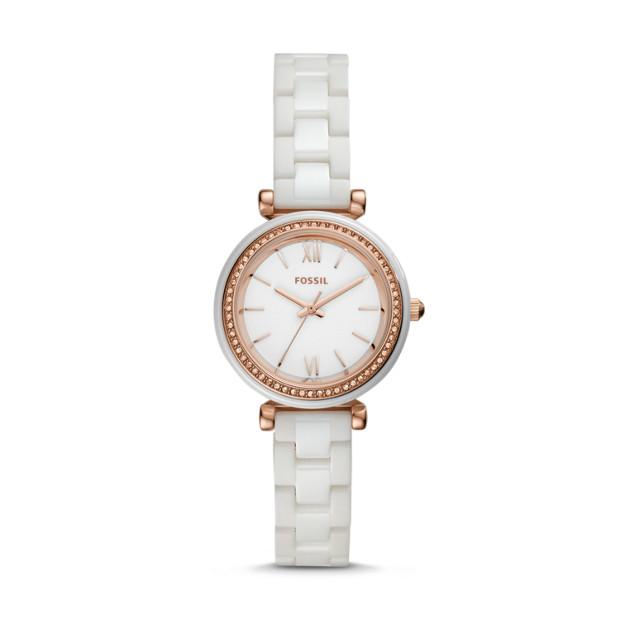Fossil Carlie Mini White Analogue Watch Watches Fossil