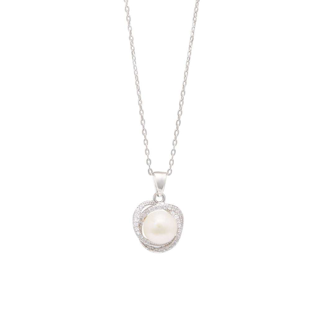 Freshwater Pearl & Cubic Zirconia Halo Swirl Necklace in Sterling Silver Necklaces Bevilles