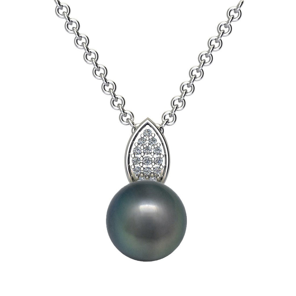 Created Grey Pearl and Cubic Zirconia Necklace in Sterling Silver Necklaces Bevilles