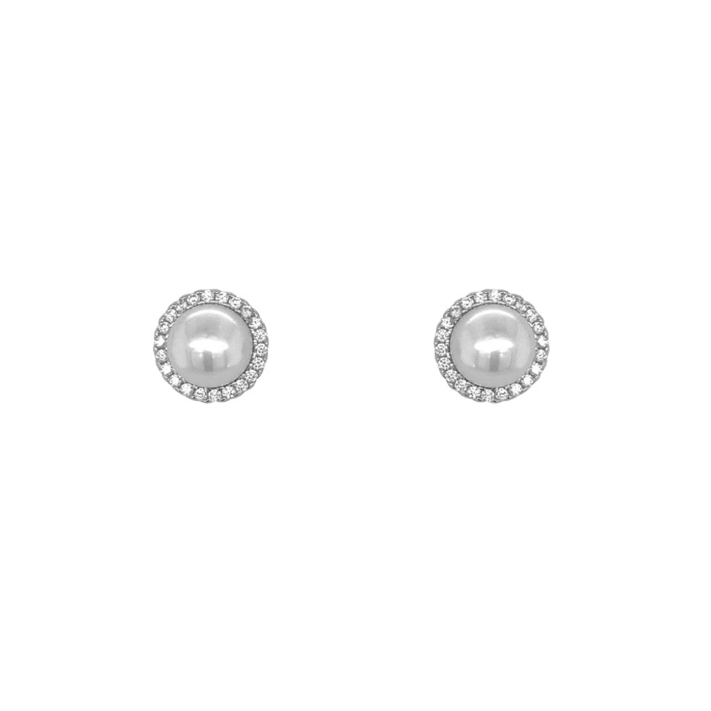 Sterling Silver Shell Pearl Cubic Zirconia Earrings