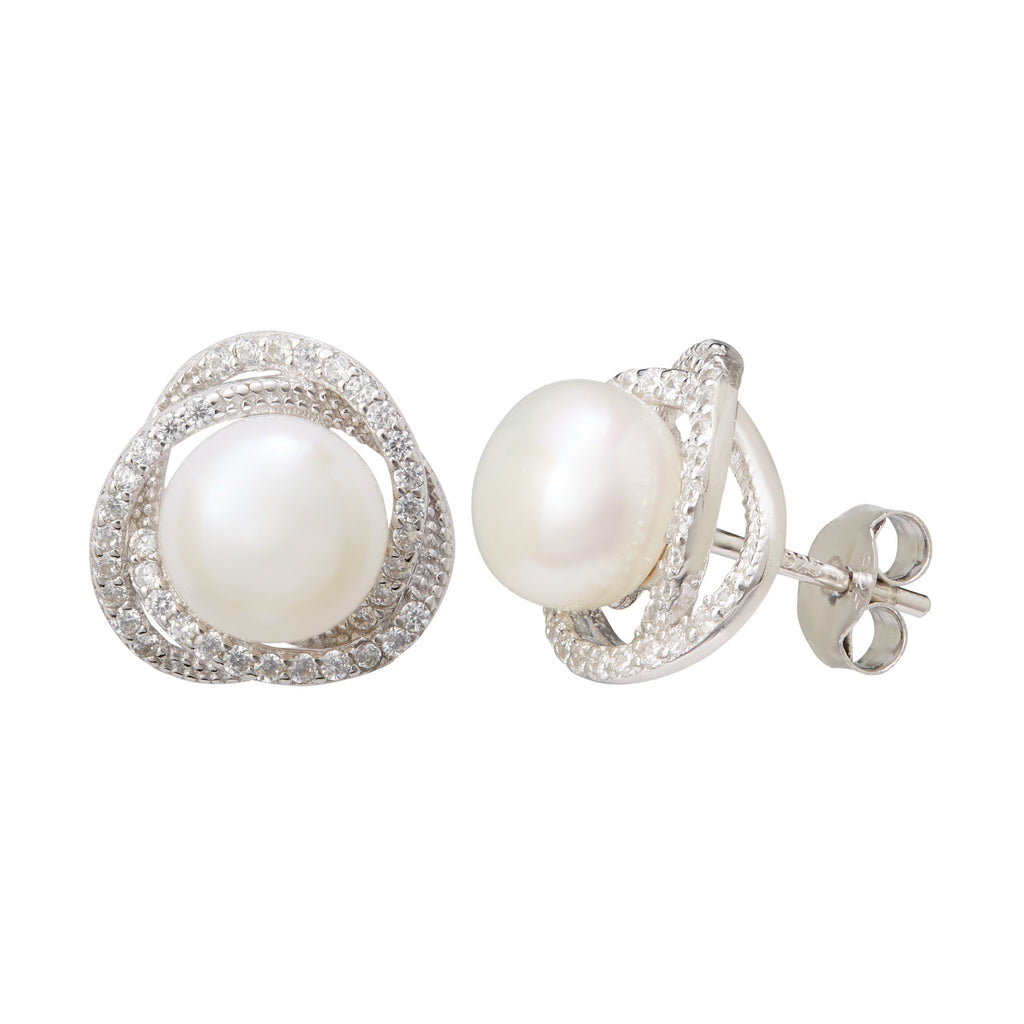 Freshwater Pearl & Cubic Zirconia Halo Swirl Earrings in Sterling Silver Earrings Bevilles
