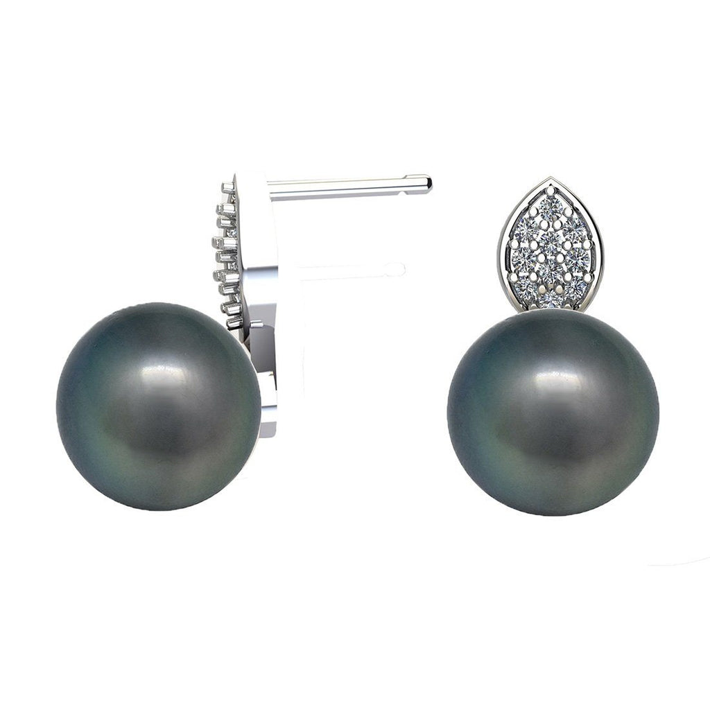 Created Grey Pearl and Cubic Zirconia Stud Earrings in Sterling Silver Earrings Bevilles