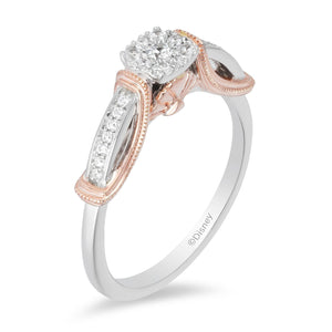 Enchanted Disney Fine Jewelry 9ct Rose Gold and Sterling Sliver Ariel Engagement Ring with 1/5ct Diamonds TDW