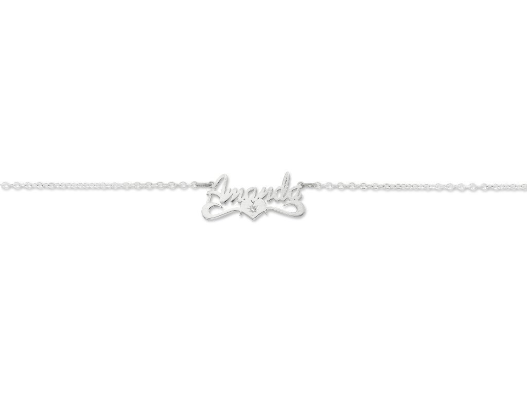 Sterling Silver Personalised Diamond Set Name Necklace Necklaces Bevilles
