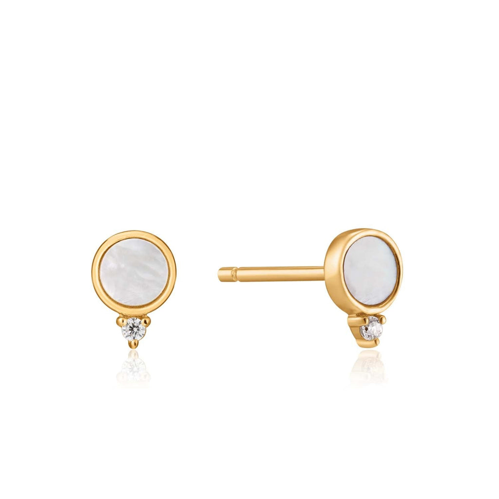 Ania Haie Mother Of Pearl Stud Earrings - Gold Earrings Ania Haie