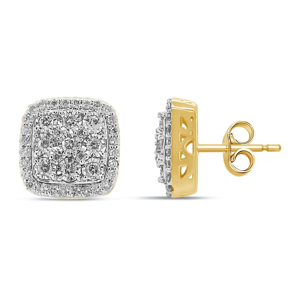 Miracle Halo Square Stud Earrings with 3/4ct of Diamonds in 9ct Yellow Gold Earrings Bevilles