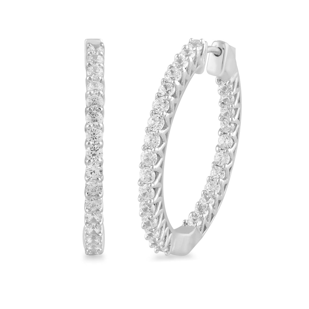 Meera Brilliant Hoop Earrings with 2.00ct of Laboratory Grown Diamonds in 9ct White Gold Earrings Bevilles