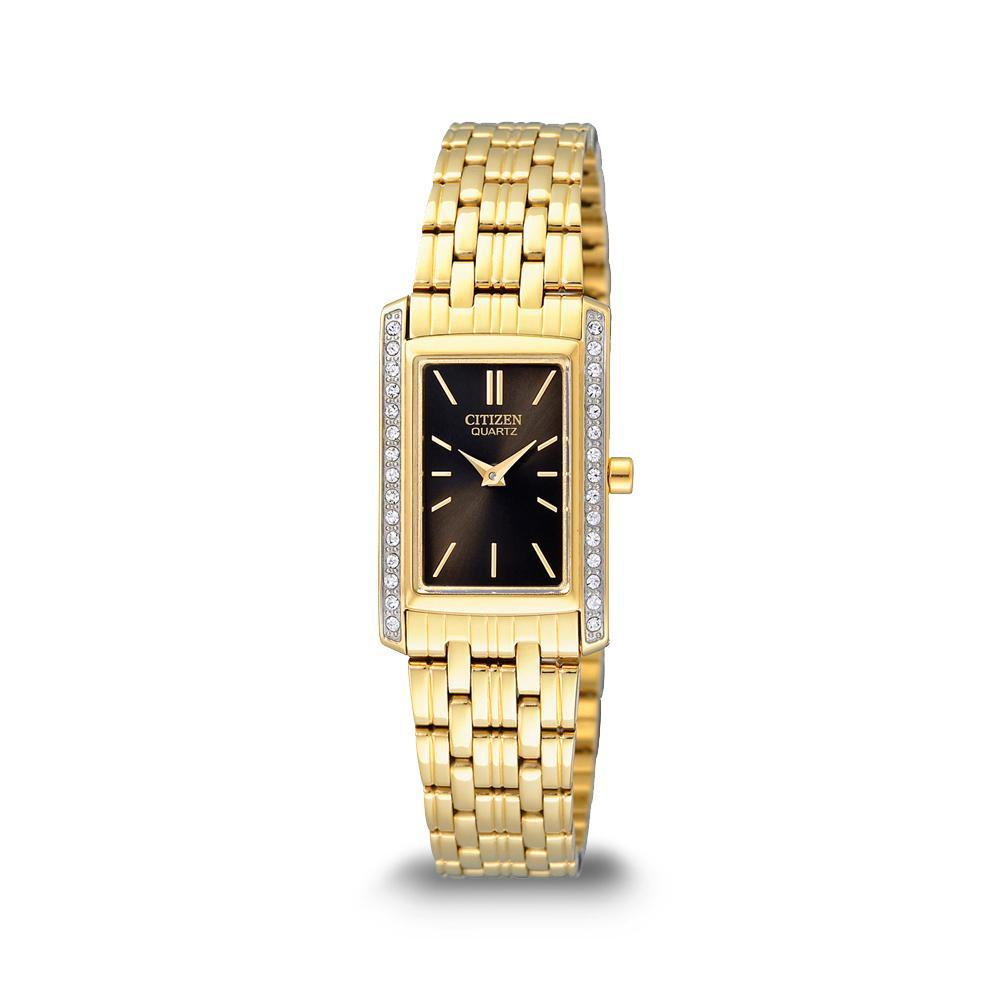 Citizen Womens Swarovski Gold Regtangle Watch EK1122-50E Watches Citizen