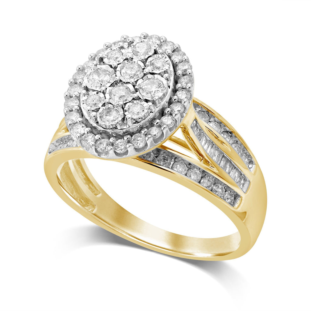 Miracle Oval Halo Ring with 1.00ct of Diamonds in 9ct Yellow Gold Rings Bevilles