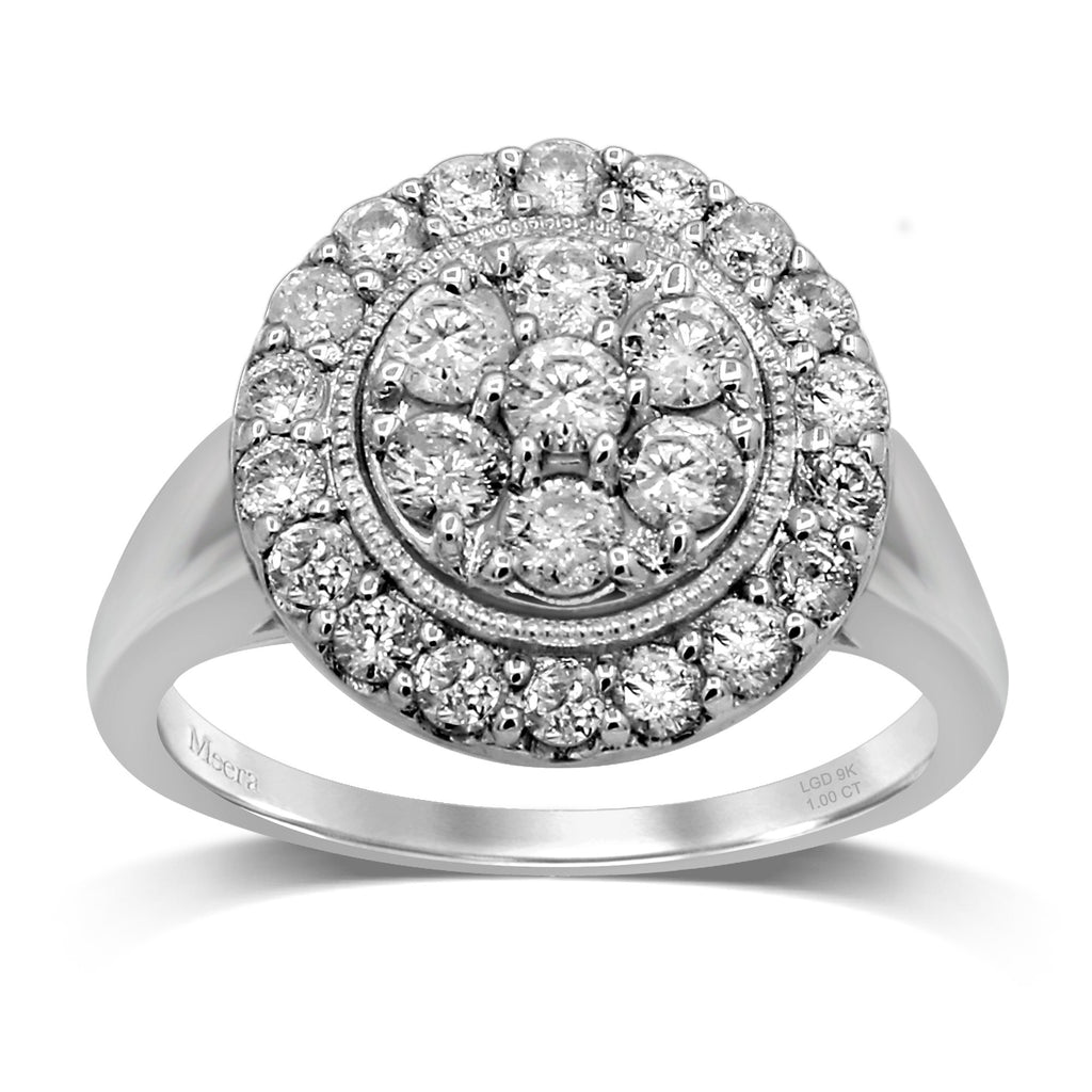 Meera Brilliant Halo Ring with 1.00ct of Laboratory Grown Diamonds in Sterling Silver Rings Bevilles
