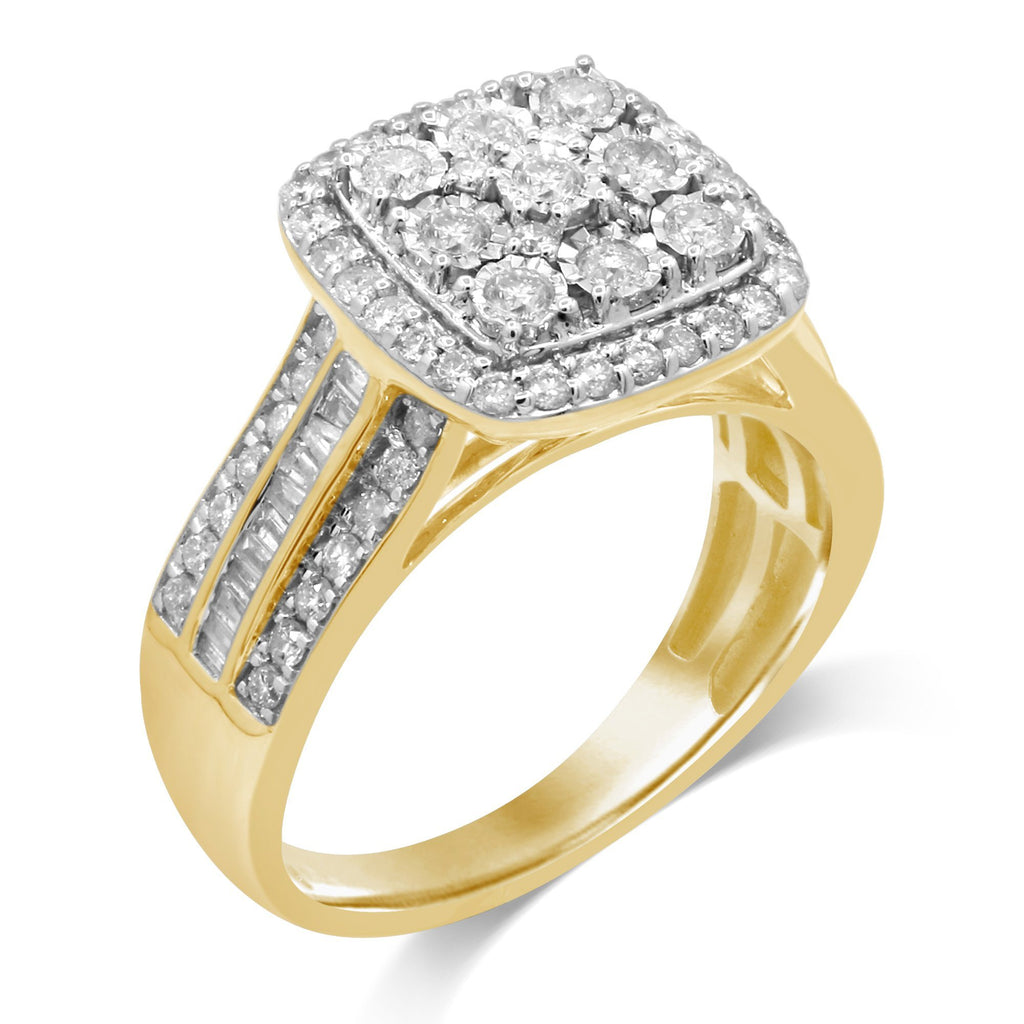 Brilliant Square Look Ring with 1.00ct of Diamonds set in 9ct Yellow Gold Rings Bevilles