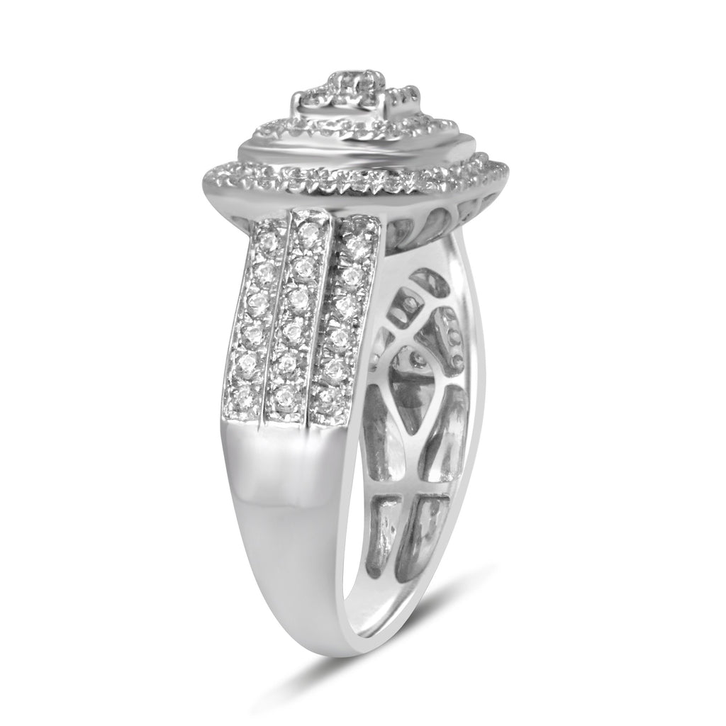 Square Look Ring with 1.00ct of Diamonds in Sterling Silver Rings Bevilles
