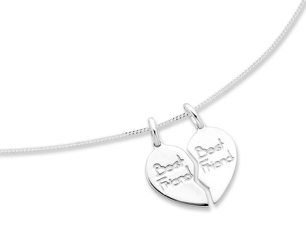 Sterling Silver Split Heart Best Friend Necklace