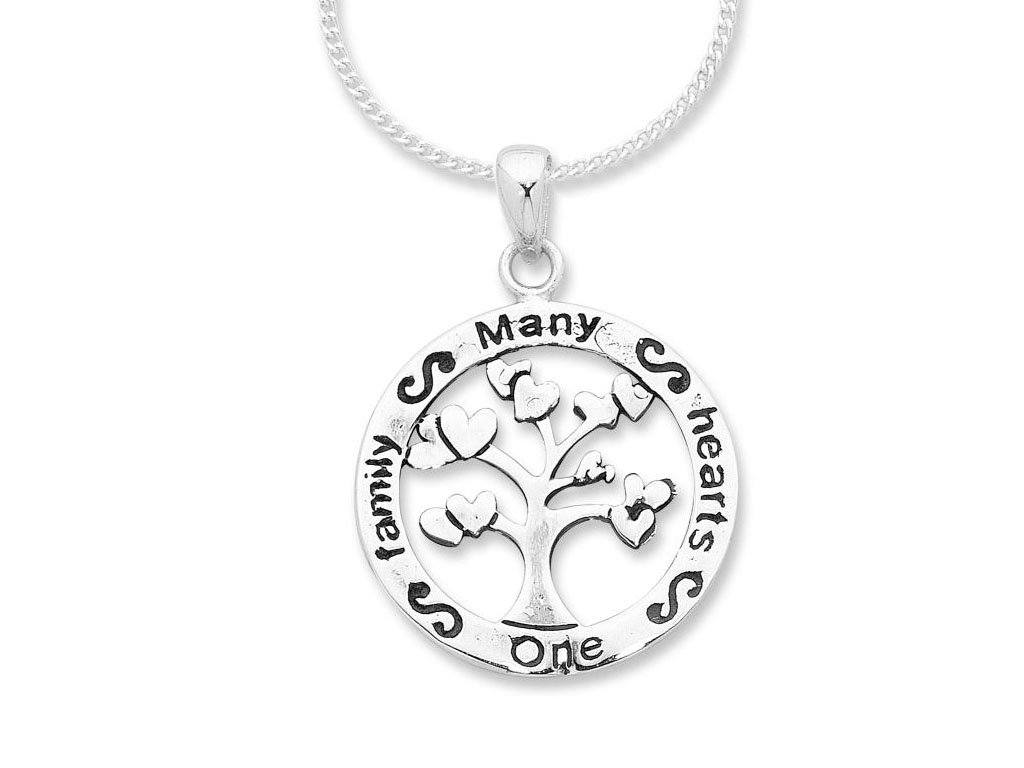 Sterling Silver 'Many Hearts One Family' Engraved Necklace