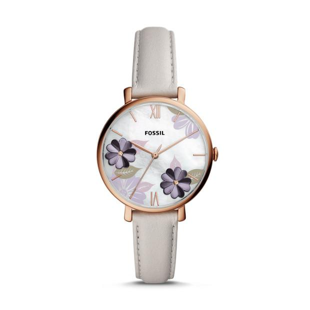 Fossil Jacqueline Three-Hand Mineral Grey Floral Leather Watch ES4672P Watches Fossil